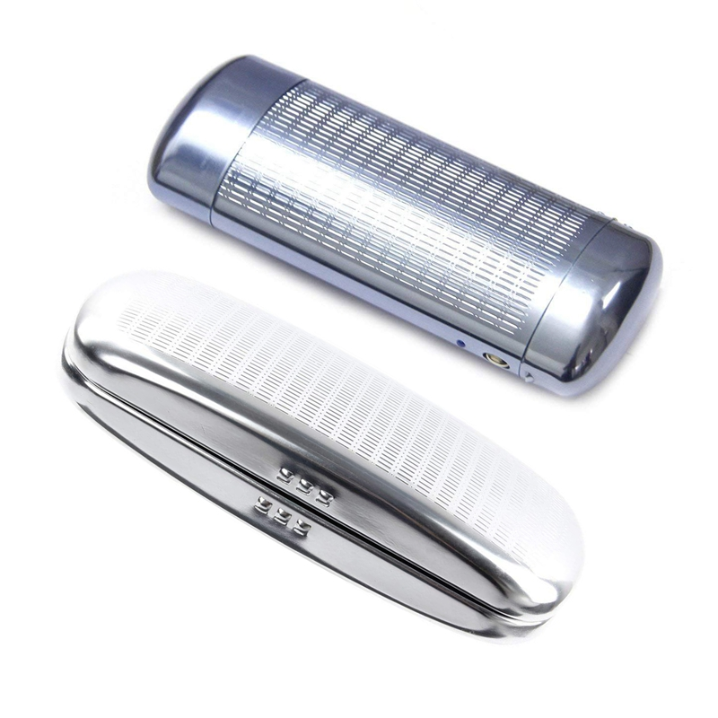 2 Pcs Glasses Case, Aluminum Hard Shell Eyeglasses Case Striped Spectacles Box 160x73x42MM & 151x56x32MM