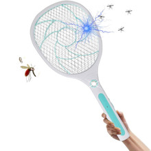 Electronic Swatter Killer Bee Zapper Racket-USB Rechargeable LED Light-2 Layers Safety Mesh Protection(China)