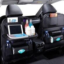 רכב מושב אחורי ארגונית עור מפוצל כרית תיק רכב אחסון ארגונית מתקפל שולחן מגש נסיעות אחסון תיק אוטומטי אבזרים
