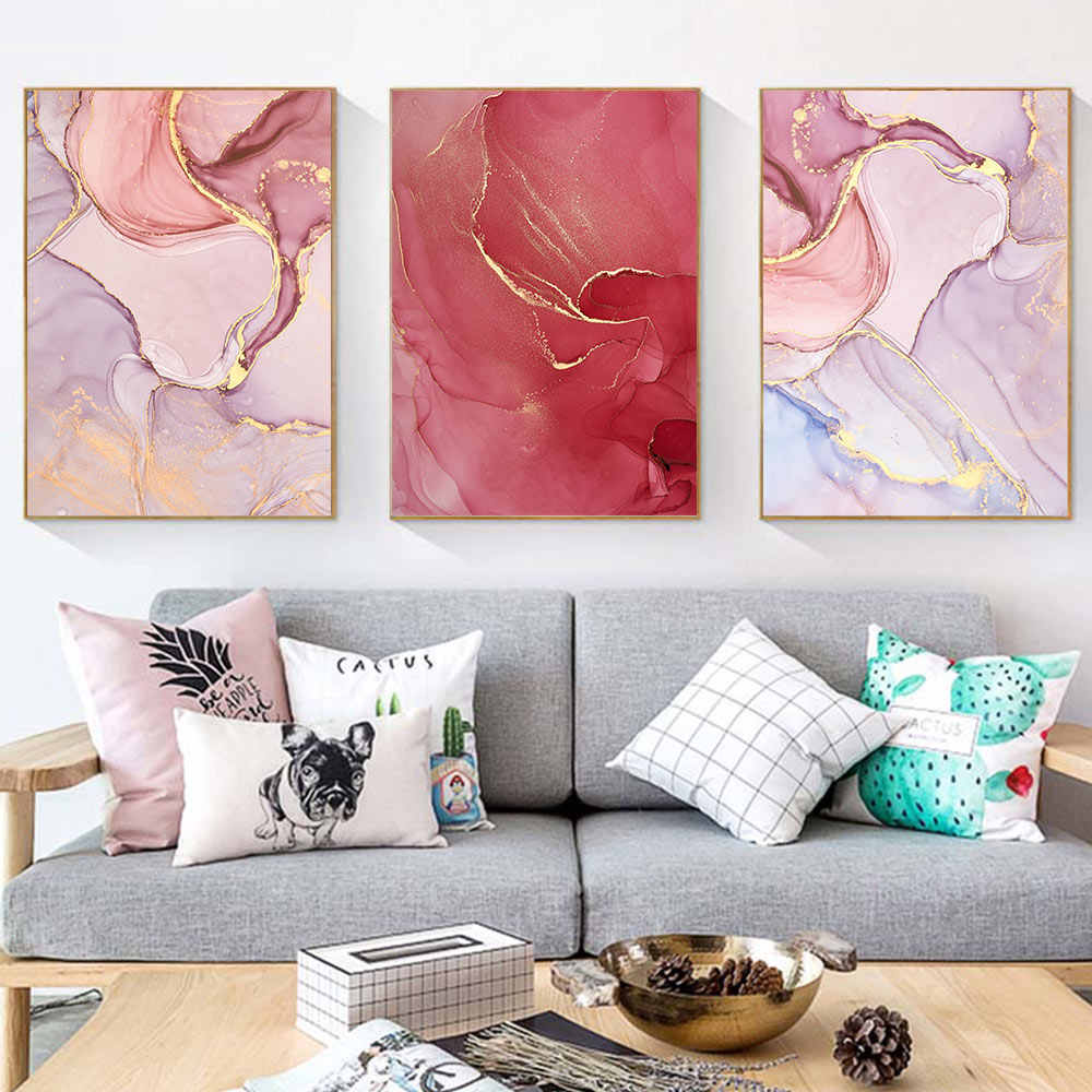Pink Red Marble Canvas Wall Art Print Abstract Canvas Painting Poster Nordic Wall Pictures Living Room Minimalist Wall Poster
