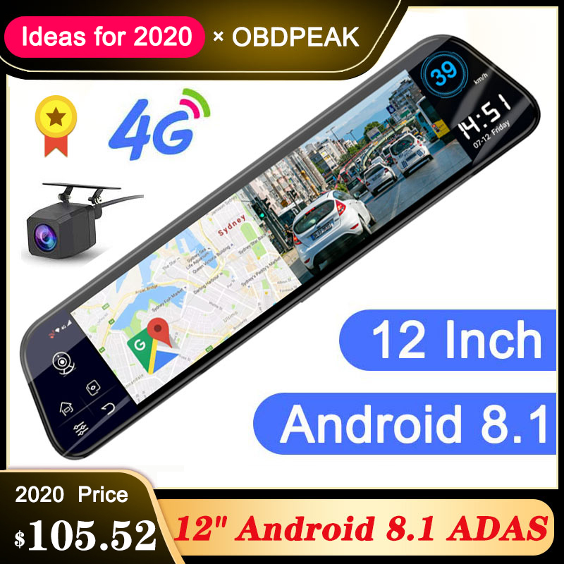 Novo 12 Polegada 4g adas android carro dvr câmera streaming espelho retrovisor 1080 p wifi gps traço cam registrador de vídeo especial