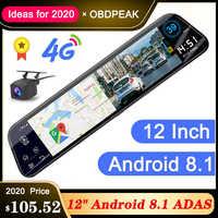 Nueva Cámara DVR de 12 pulgadas 4G ADAS Android para coche Streaming espejo retrovisor 1080P WiFi GPS cámara de salpicadero registrador de vídeo especial