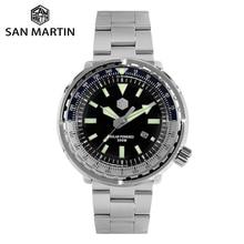 סן מרטין טונה Diver נירוסטה שעון גברים קוורץ שעונים VS37 שמש ספיר קריסטל תצוגת תאריך עמיד למים סופר זוהר