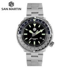 Мужские часы из нержавеющей стали San Martin TUNA Diver, кварцевые часы VS37 с солнечным сапфировым кристаллом, отображением даты, водонепроницаемым, супер свечением
