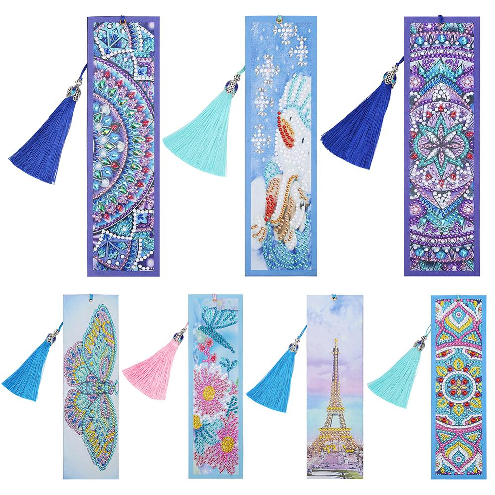 VODOOL DIY Peafowl Special Shaped Diamond Painting Leather Tassel Bookmark Gift