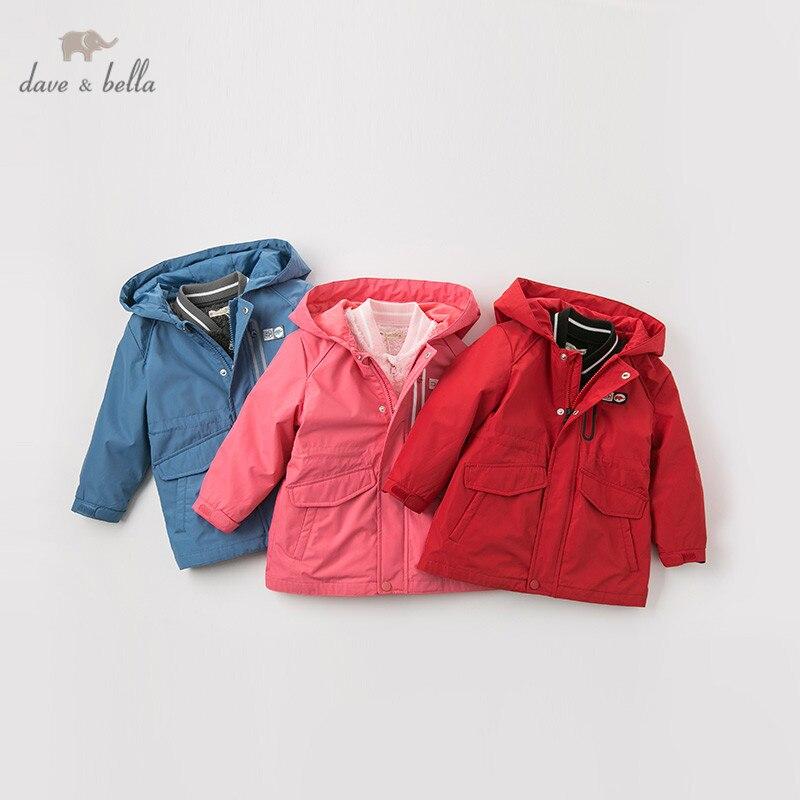 DB12020 dave bella/куртка унисекс для маленьких мальчиков и девочек детская верхняя одежда Модная хлопковая одежда, пальто