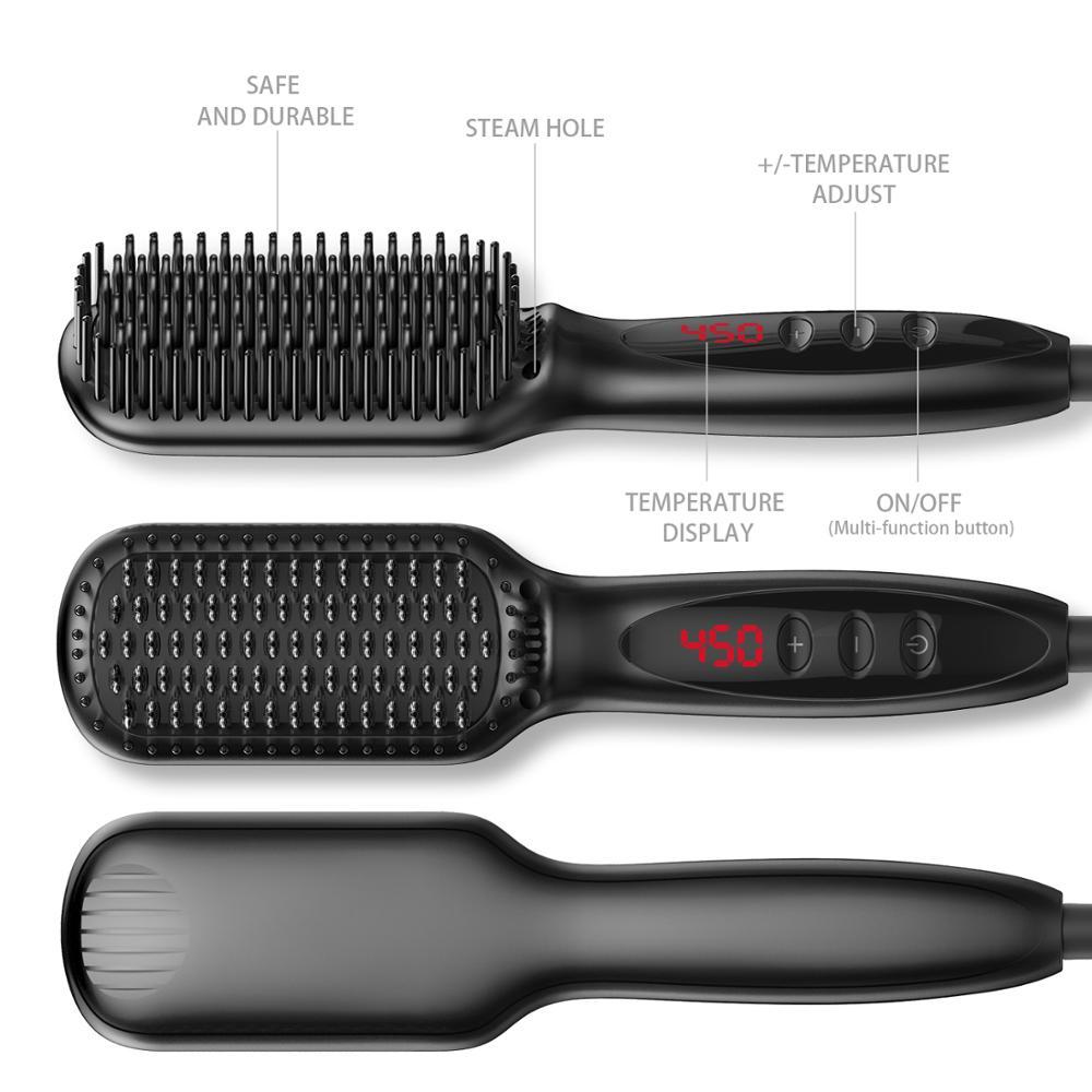 Electric Hair Beard Straightening Brush Anti-Scald Ceramic Iron Beard Styler Comb Heating Straightener Comb For Long Short Hair