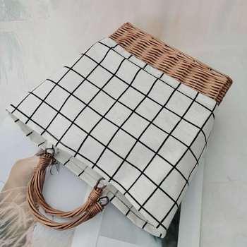 Striped canvas straw bag Large-capacity rattan bag portable woven Bucket  handbag Woman large shopping bag Summer Wicker Basket 2