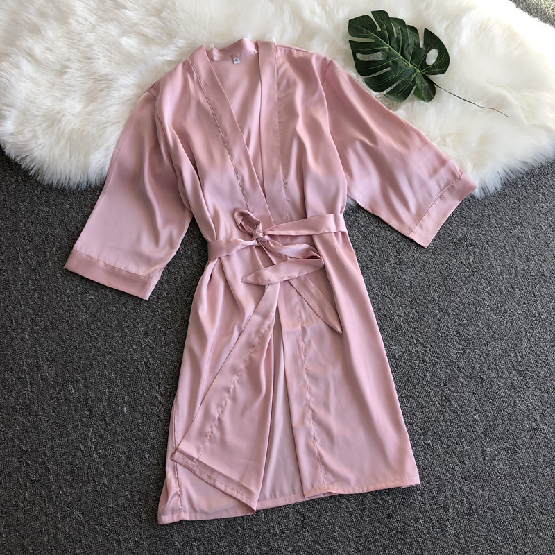 Women's Sleepwear Women's Summer Imitated Silk Fabric Women's Robes Korean-style WOMEN'S New Simple Morning Gowns Thin Breathabl