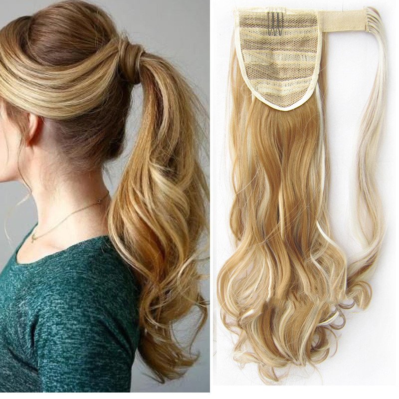 Jeedou Ponytail Wavy Hair Black Color Wrap Around Ponytail Extensions Synthetic Hair Ribbon Trend Undone And Messy