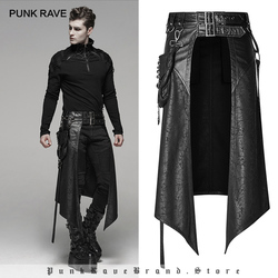 PUNK RAVE Men's Punk Removable Side Stereo Pocket Half Skirt Stage Performance Party Club Cosplay Men Skirt Pants