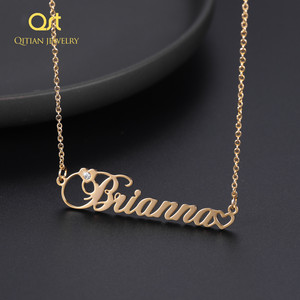 Diamond Name Necklace For Women Personalized Namplate Pendant Necklaces Gold Custom Stainless Steel Jewelry