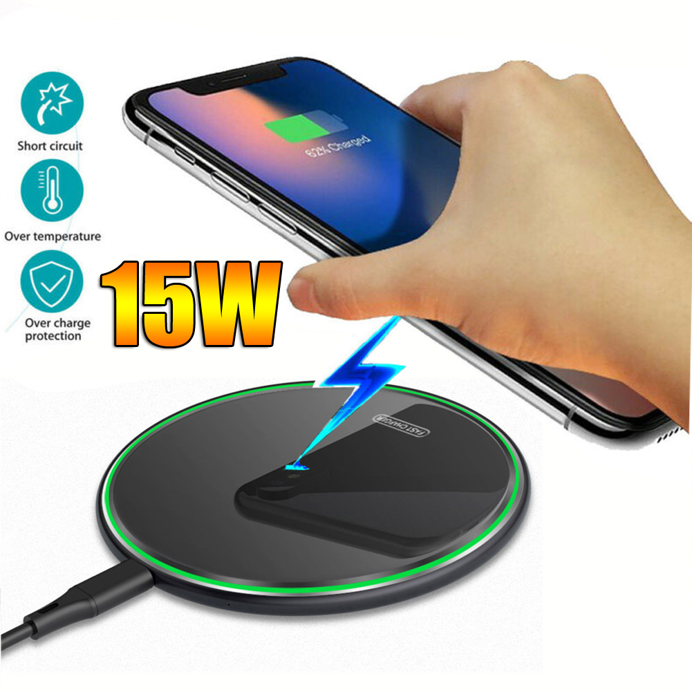 Wireless-Charger Glass 10-Plus Note Huawei Samsung IPhone Xs Qi For P30 Pro Samsung/Note/10-plus/..