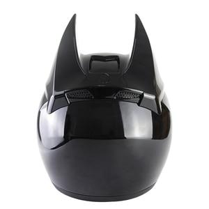 Image 2 - Morcego capacete da motocicleta das mulheres personalidade moto capacete preto rosto cheio capacete de moto moda capacete