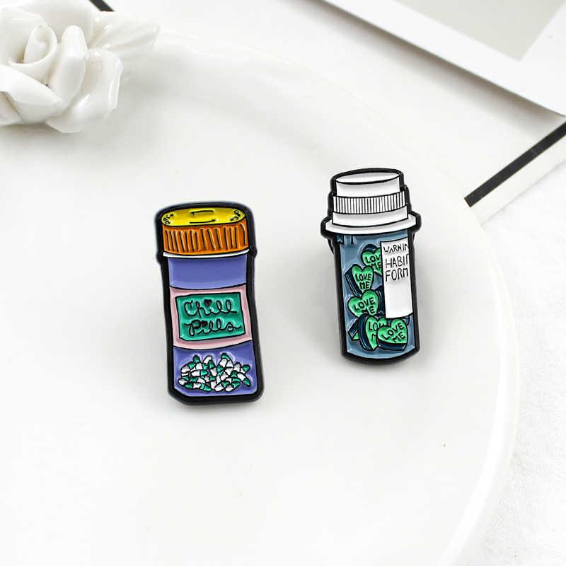 XEDZ magie medizin flasche wissenschaftliche chemische reagenz flasche baumwolle ball verband serie brosche sammlung abzeichen schmuck denim c