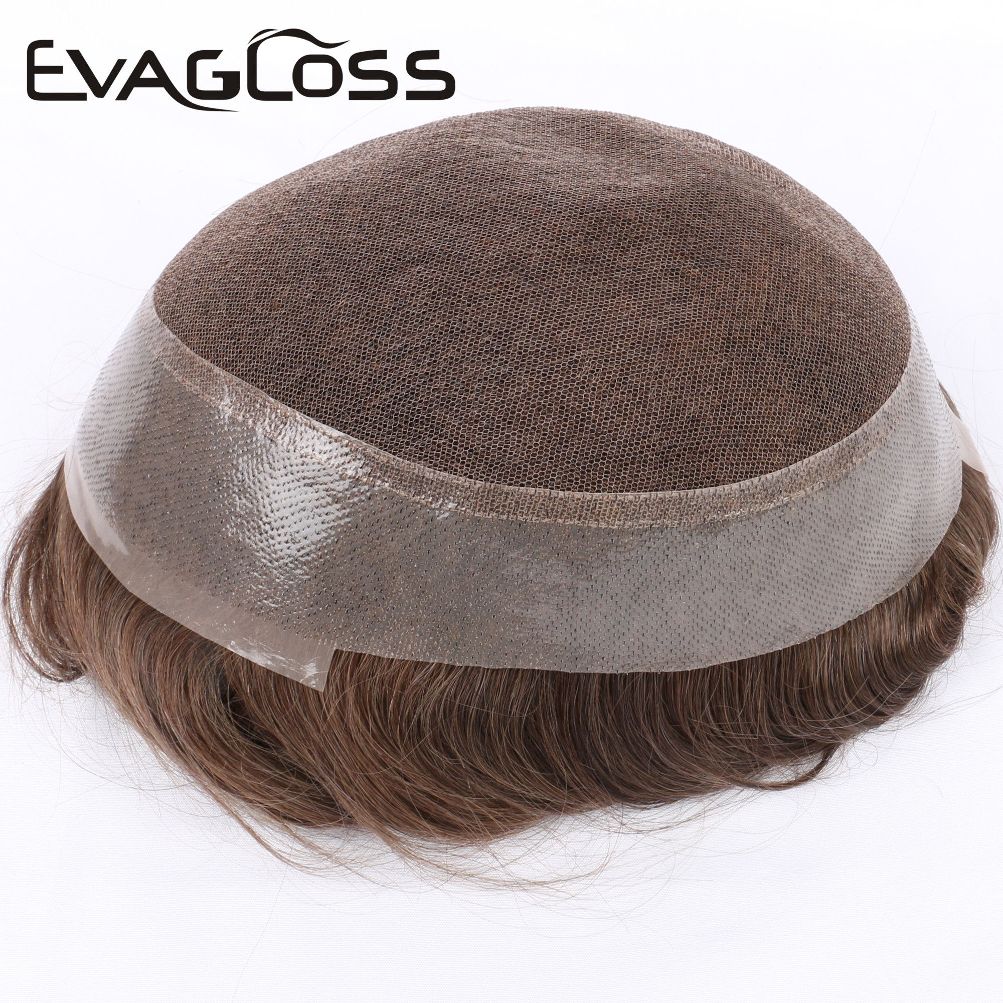 EVAGLOSS Australia Base Swiss Top PU Around Natural Human Hair Men's Hair Toupee Hair Replacement