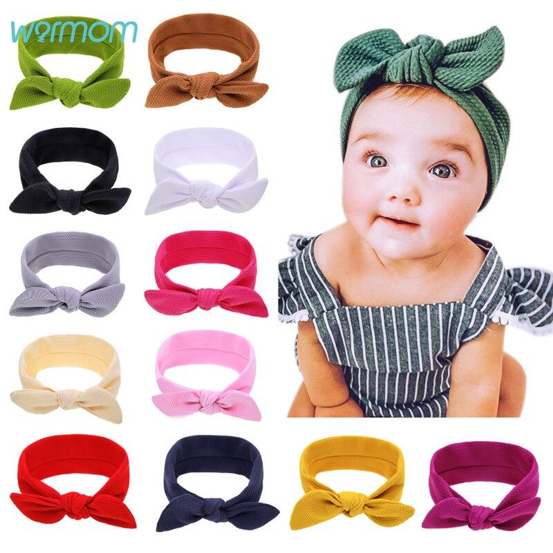 Warmom Baby Girl Rabbit Ears Headband Newborn Bebe Solid Color Princess Hairband Clothes Accessories Kids Bandeau Fille Headwear