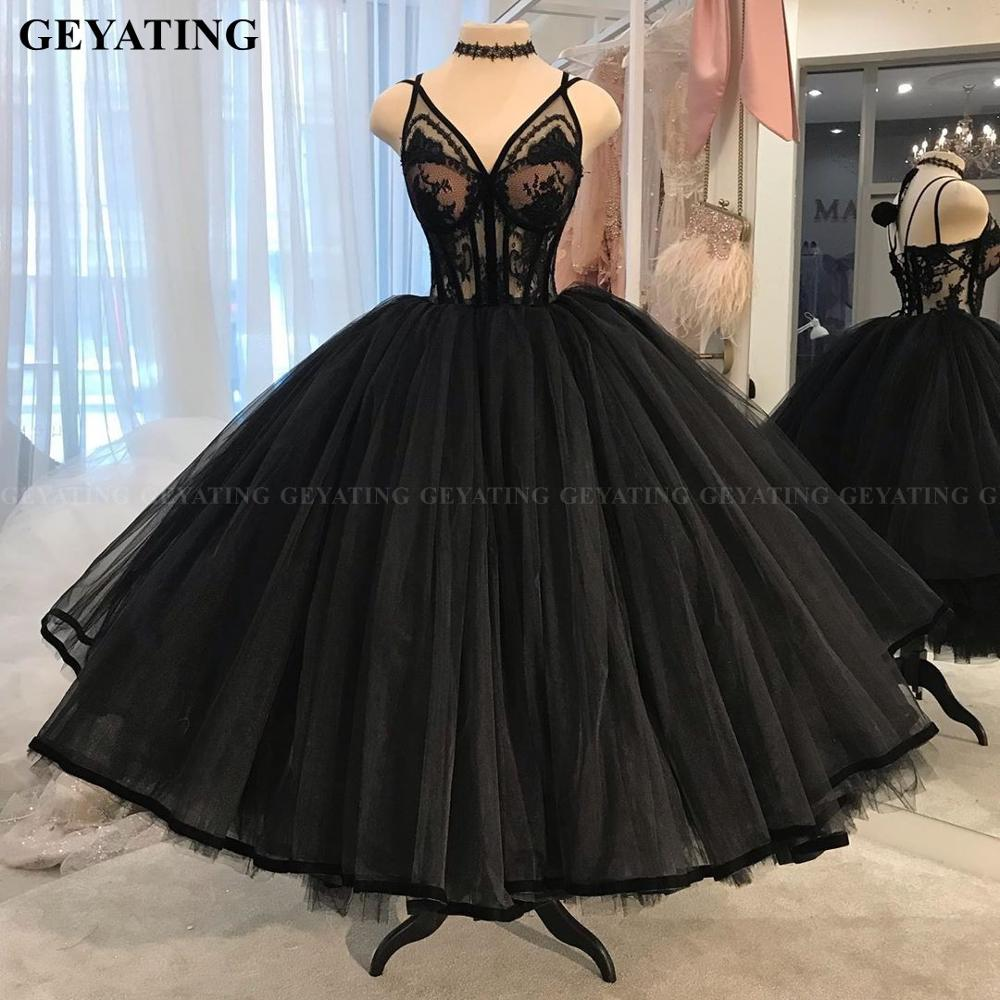 Vintage Lace 1950s Black Ball Gown Prom Dresses 2020 Sexy V-Neck Illusion Puffy Tulle Tea Length Evening Gowns Girls Party Dress