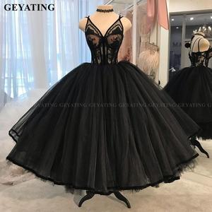 Image 1 - Vintage Lace 1950s Black Ball Gown Prom Dresses 2021 Sexy V Neck Illusion Puffy Tulle Tea Length Evening Gowns Girls Party Dress