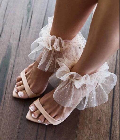 Grace Wedding Shoes Bride Peep Toe Cut-out Lace Ankle Strap Summer Dress Shoes Thin Heels Banquet Dress Shoes Women Plus Size