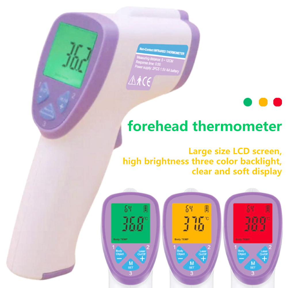 Portable Body Thermometer Infrared Digital LCD Baby Adult Forehead Ear Non-Contact IR Temperature Measurement Device Tool Gun