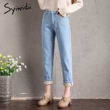 Mom Jeans Denim Pants Velvet Black Blue High-Waist Plus-Size Autumn Fleeces Warm Thick