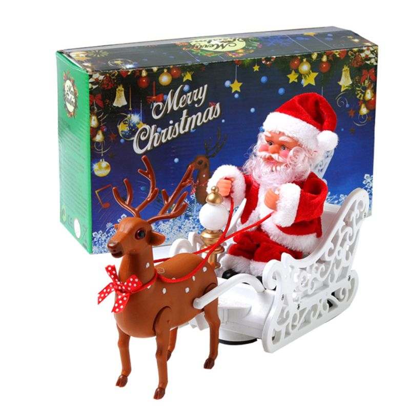 Elk Sleigh Santa Claus Doll With Music Electric Universal Car Toy New Year Gifts