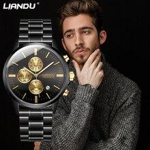 купить Business Men Watch LIANDU Brand Stainless Band Quartz WristWatch Chronograph Waterproof Slim Date Clock Relogio Masculion по цене 971.76 рублей