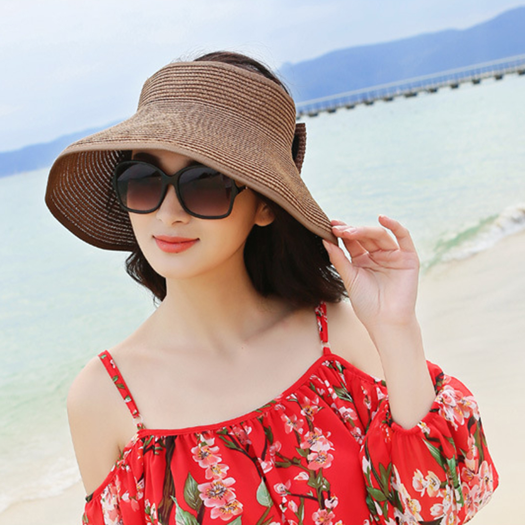 Sun hats for women Summer Foldable Straw Wide Large Brim hat Straw Hot Sale Round Top Sun Visor Leisure Beach refreshing cap image