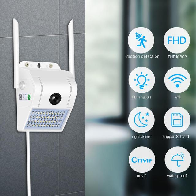 1080P sans fil IP caméra applique sécurité extérieure bidirectionnelle Audio projecteur couleur Vision nocturne Wifi caméra V380 2