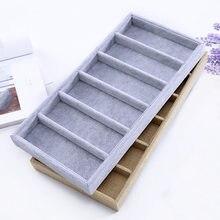 Veludo 6 grades óculos de sol caixa exibição jóias adereços embalagem jóias organizador bandeja moda casos embalagem