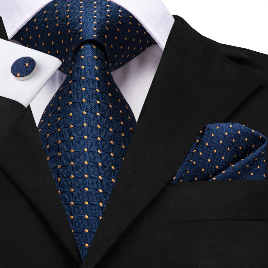 Business Tie For Men Silk Blue Tie Dots Necktie Set Plaid Cufflinks For Wedding Business Tie 150cm Hi-Tie SN-3529 Dropshipping