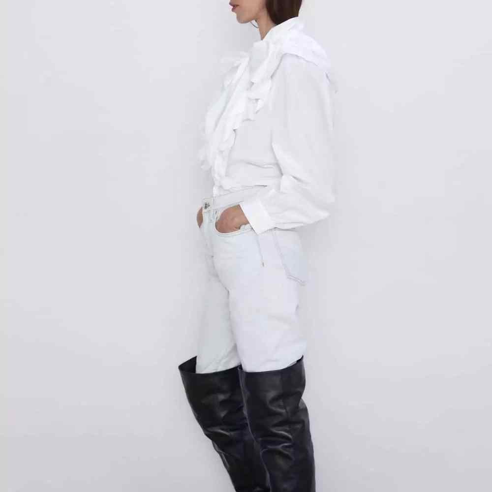 2019 nueva camisa de mujer de otoño invierno con moño y volantes camisa de manga larga Blusa de popelina vintage de chifón para mujer
