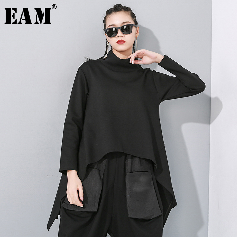 [EAM] Loose Fit Black Split Asymmetrical Sweatshirt New Turtleneck Long Sleeve Women Big Size Fashion Tide Spring 2020 1N482