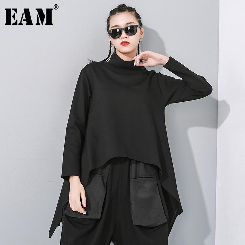 [EAM] Loose Fit Black Split Asymmetrical Sweatshirt New Turtleneck Long Sleeve Women Big Size Fashion Tide Spring 2020 1N482