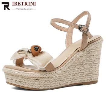 RIBETRINI Women Genuine Leather Shoes Women Open Toe Flower Platform Wedges Sandals Solid Casual Office Sandals