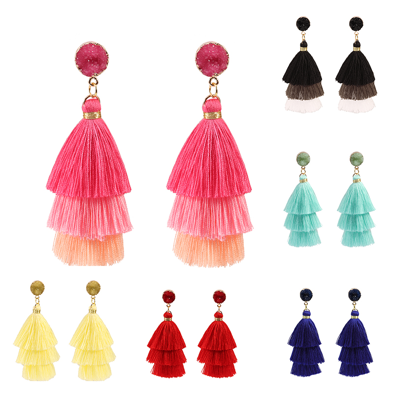 Long nature stone Bohemian Tassel Earrings Multi-layer Silk Fabric Long Drop Earring For Women 2019 Boho Indian Jewelry
