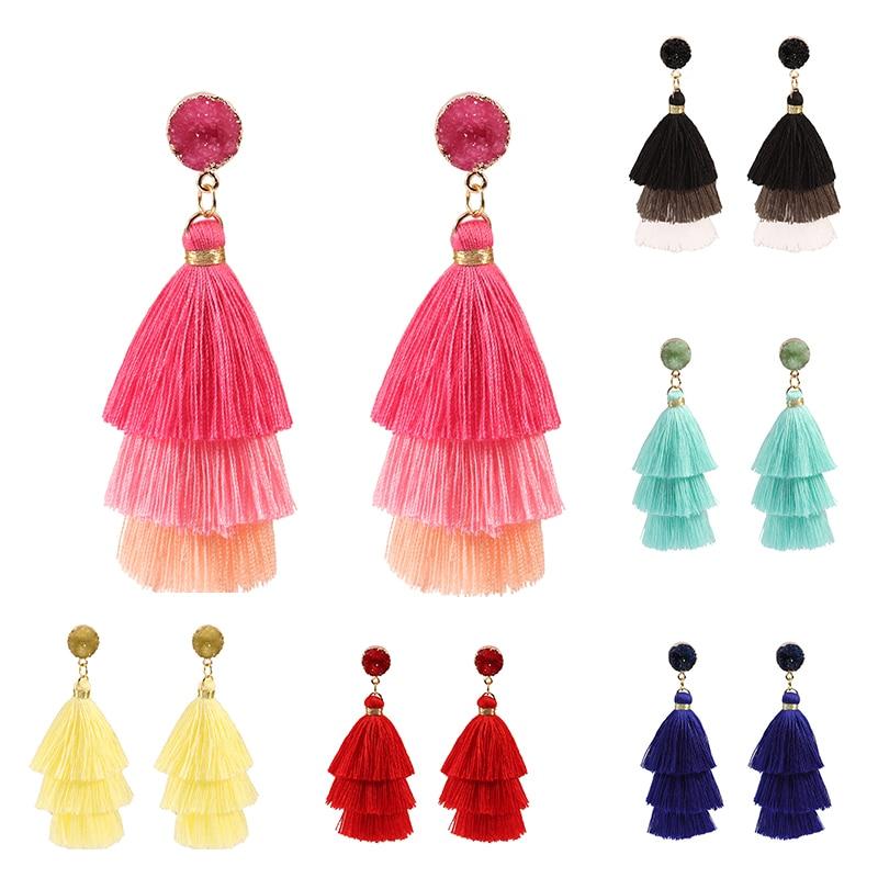 Long nature stone Bohemian Tassel Earrings Multi-layer Silk Fabric Long Drop Earring For Women 2019 Boho Indian Jewelry