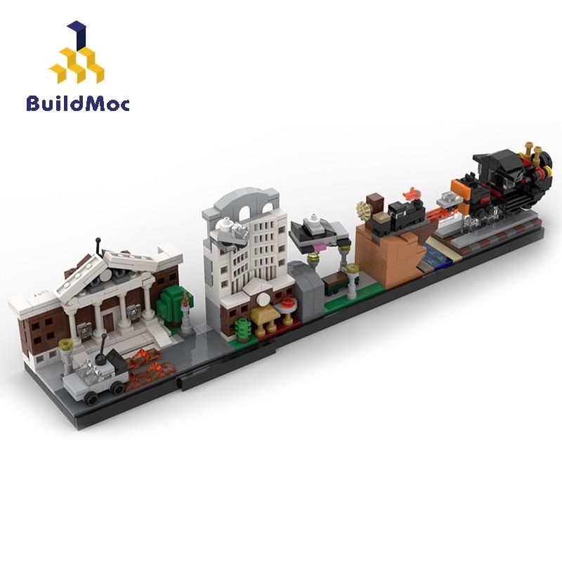 BuildMoc City Buildings Back to Future Castle House MOC Movie Skyline Architecture Building Blocks кирпичики город игрушки для детей