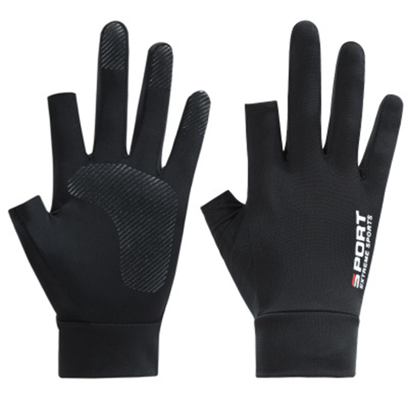 Fishing Gloves Breathable Thin Section Fingerless Summer Riding Fishing Ice Silk Leaking Two Fingers and A Half Fingers