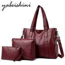 цена на Women Leather handbag clutch bag wallet three-piece Shoulder Bags for women 2019 sac main femme crossbody bags for women Tote
