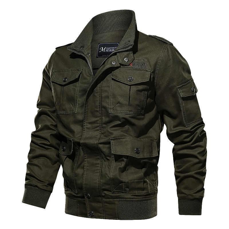 カジュアルジャケット男性戦術軍事綿 100% ジャケットコート男性 2020 春の秋のアウタースリムフィットスタンドカラーウインドブレーカー
