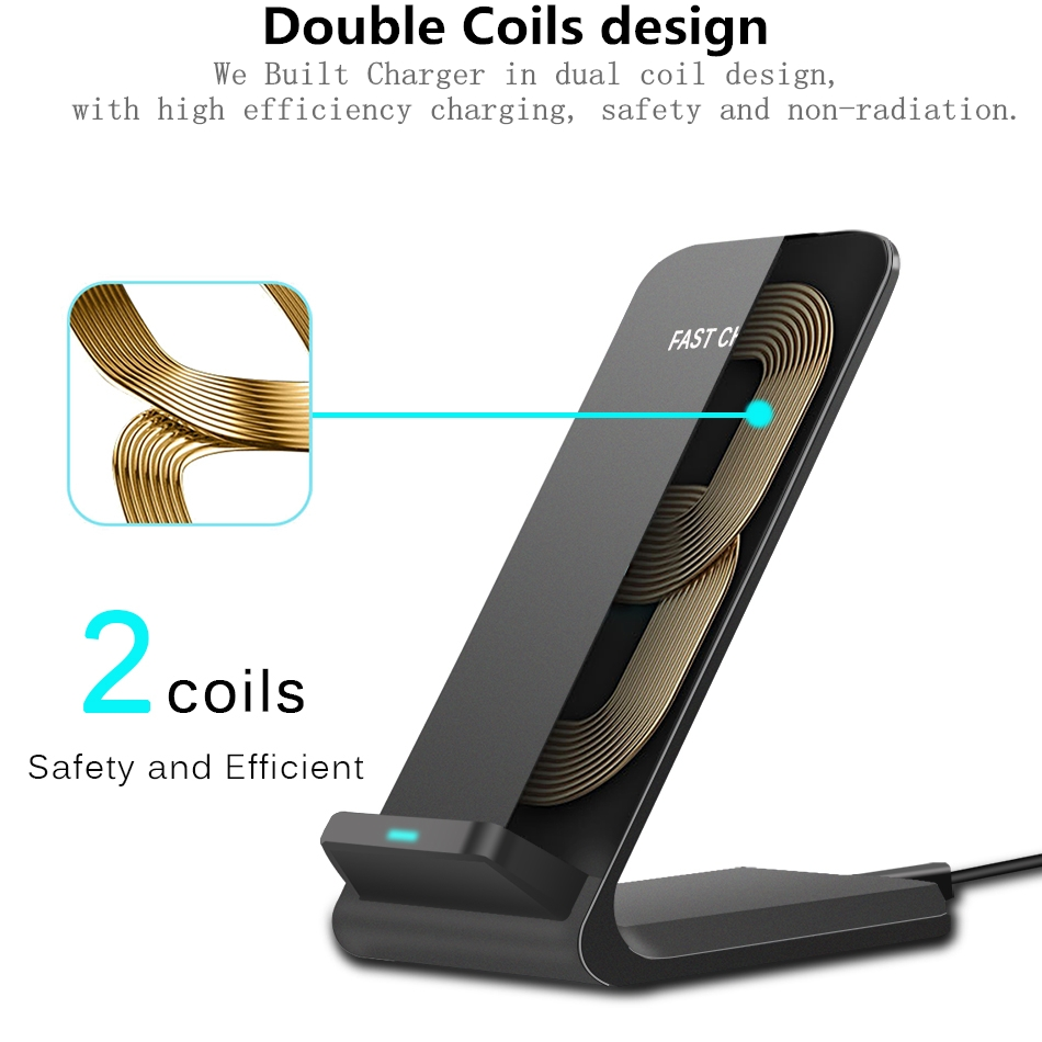 Brucebing Qi Wireless Charger Adapter QC 2.0 Quick Charge Dock Stand For iPhone 8 10 X Samsung S6 S7 S8 Plus Note5 Fast Charging 4