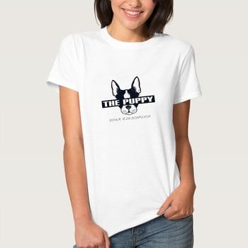 THE PUPPY Letter Dog Head Print T Shirt Women Short Sleeve O Neck Loose Tshirt 2020 Summer Fashion Women Tee Shirt Tops