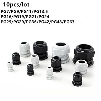 Waterproof Cable Gland 10pcs Cable entry IP68 PG7 for 3-6.5mm PG9 PG11 PG13.5 PG16 PG19/21/ White Black Nylon Plastic Connector white 10pcs ip68 m12 for 3 6 5mm pg7 m16 m18 m20 m25 m36 m40 m63 wire cable ce waterproof nylon plastic cable gland connector