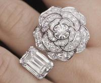 925 Sterling Silver Fashion Camellia Rings Elegant crystal Rose Flower ring Charm flower Adjustable rings silver wedding jewelry