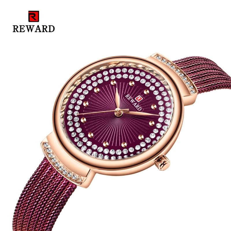 2019 REWARD Watch Women Fashion Dress Quartz Watches Lady Stainless Steel Waterproof Wristwatch Simple Girl Clock Zegarek Damski