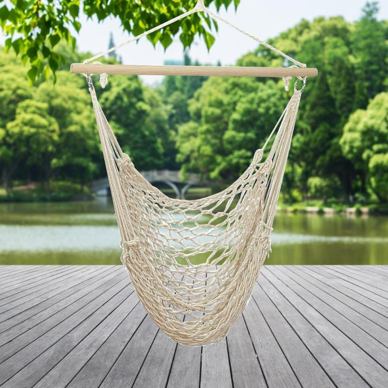Alloet Nordic Style Hammock Outdoor Indoor Garden Dormitory Bedroom Hanging Chair For Child Adult Swinging Single Safety Hammock