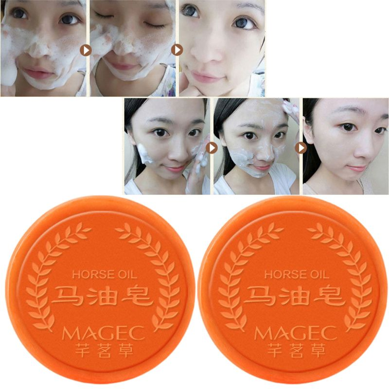 Horse Oil Facial Soap Clean Blackhead Care Soap Natural Moisturizing Treatment Repair Whitening Handmade Soap Q0KD