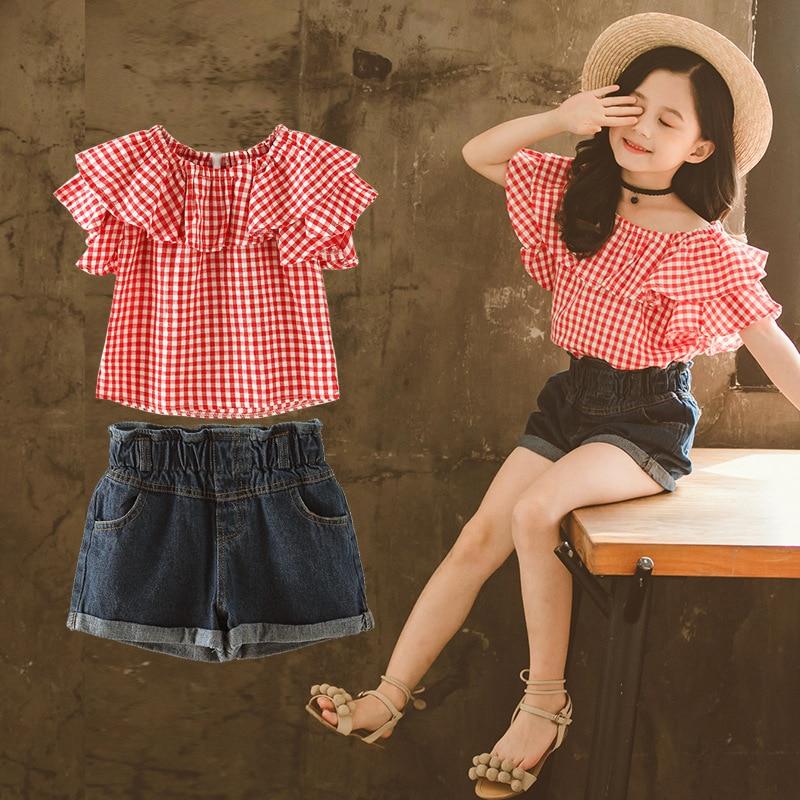 Children's summer clothes plaid ruffled tops   denim shorts children's clothes cotton baby blue jeans short sets of teen girls 1